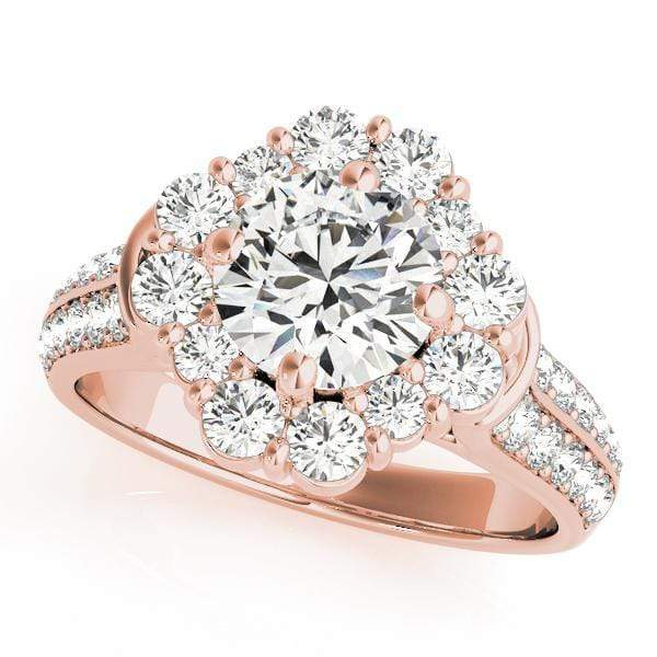 2 Row Round Brilliant Shape Large Halo Diamond Engagement Ring With Side Diamonds & Prongs-Angelucci-Jewelry