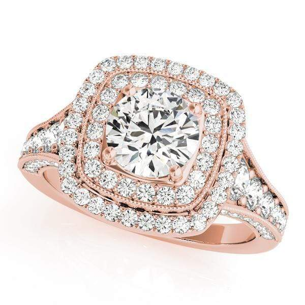 Round Shape Double Halo Diamonds Engagement Ring with Cushion Border & Milgraine Borders-Angelucci-Jewelry