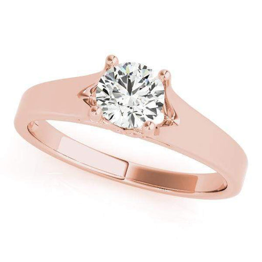 angelucci-jewelry-Round Brilliant Shape 4-Prong Solitaire Diamond Engagement Ring Plain Band