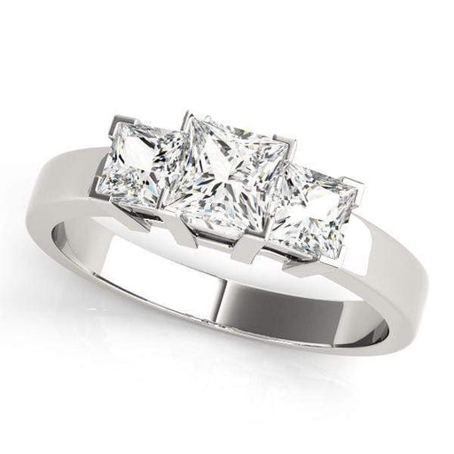 angelucci-jewelry-3 Stone Princess Shape Diamond Engagement Ring with Fence-Style Prong Setting