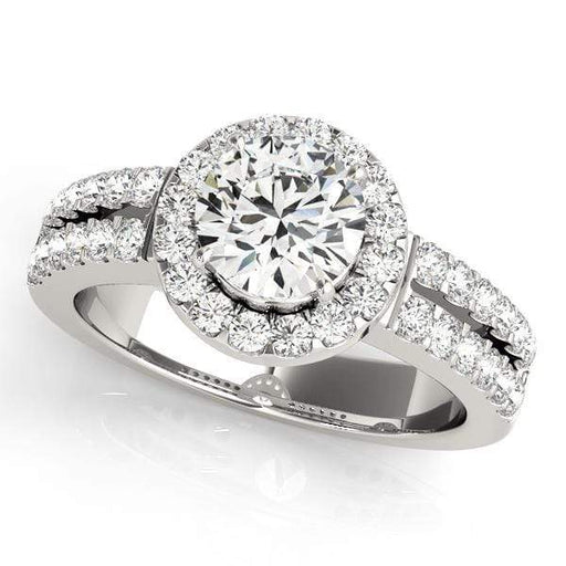 Round Shape Double Shank Halo Diamond Engagement Ring-Angelucci-Jewelry