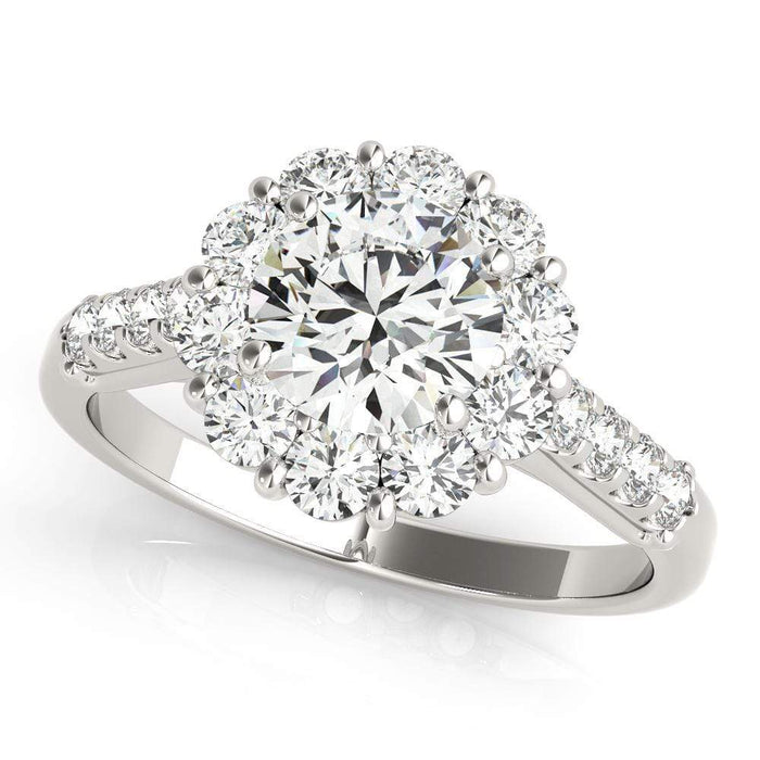 Round Brilliant Shape Large Halo Diamond Engagement Ring with Side Diamonds-Angelucci-Jewelry
