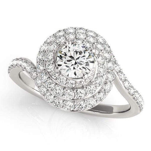 Round Shape Triple Halo Diamond Engagement Ring with Accent Diamonds-Angelucci-Jewelry