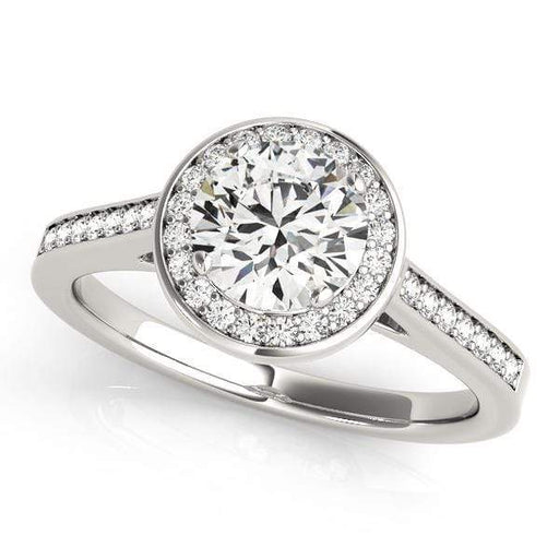 Round Brilliant Shape Halo Diamond Engagement Ring with Prong Setting-Angelucci-Jewelry