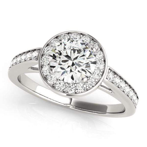 Round Brilliant Shape Halo Diamond Engagement Ring with Accent Diamonds, Prong Setting & Bezel Center-Angelucci-Jewelry