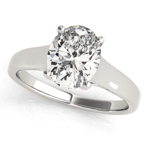 angelucci-jewelry-Oval Shape 14-Karat Trellis Solitaire Diamond Engagement Ring Plain Band