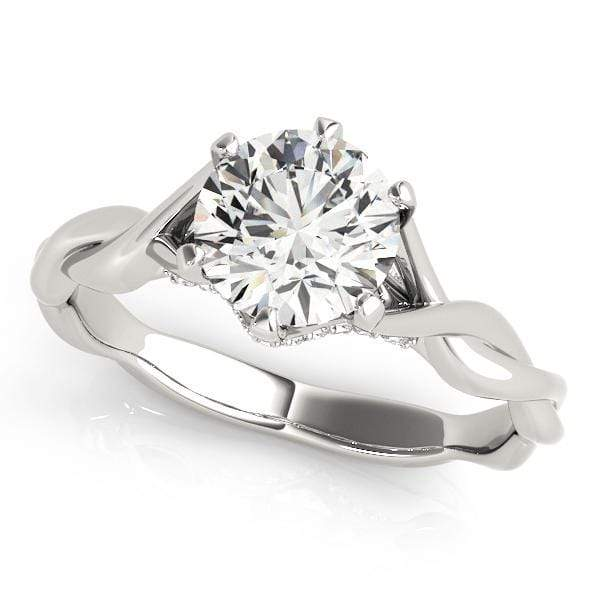 angelucci-jewelry-Round Brilliant Shape 6-Prong Infinity Solitaire Diamond Engagement Ring with Accent Diamonds