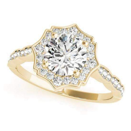 Round Brilliant Shape Star Halo Diamond Engagement Ring with Petite Band & Accent Diamonds-Angelucci-Jewelry