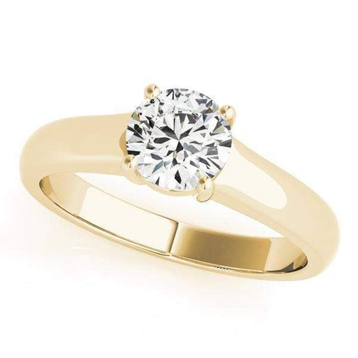 angelucci-jewelry-Round Brilliant Shape 14-Karat Solitaire Diamond Engagement Ring Plain Band
