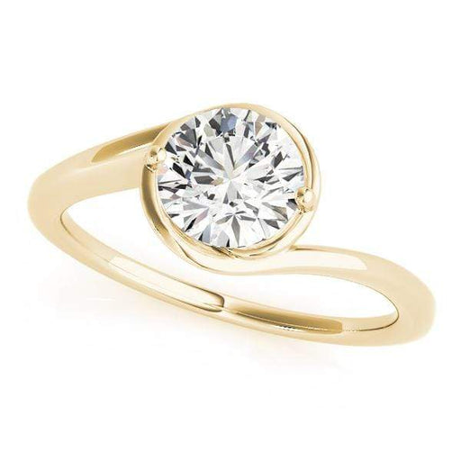 angelucci-jewelry-Round Brilliant 14-Karat Bypass Solitaire Diamond Engagement Ring
