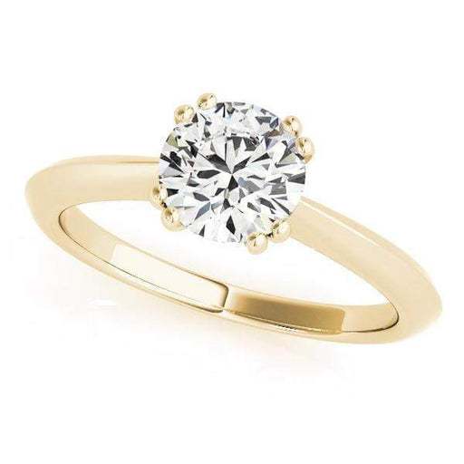 angelucci-jewelry-Round Brilliant Shape 14-Karat Solitaire Diamond Engagement Ring Plain Band with Knife Edge