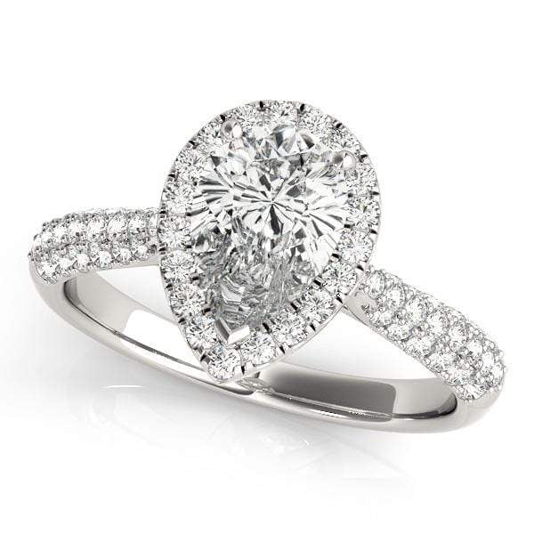 Pear Shape 3-Row Halo Diamond Engagement Ring with Tapered Sides-Angelucci-Jewelry