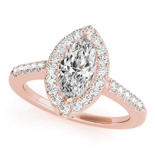angelucci-jewelry-Marquise Shape 14-Karat Pavé Halo Diamond Engagement Ring