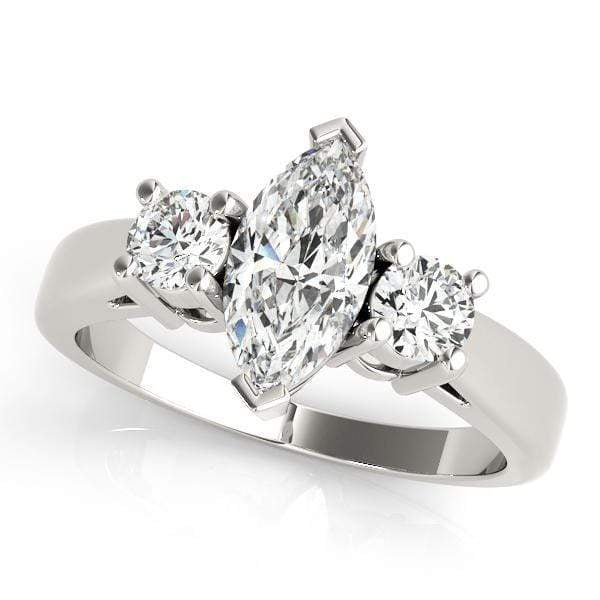 angelucci-jewelry-3 Stone Marquise Shape Prong-Set Diamond Engagement Ring with Round Brilliant Shape Accent Diamonds