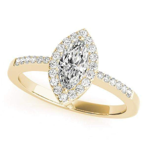 angelucci-jewelry-Marquise Shape 14-Karat Pavê Halo Diamond Engagement Ring with Accent Diamonds