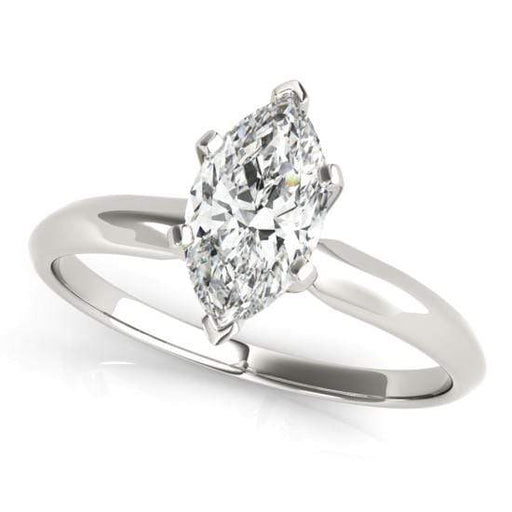 angelucci-jewelry-Marquise Shape 14-Karat 6-Prong Set Solitaire Diamond Engagement Ring with Tapered Band
