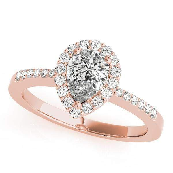 Pear Shape Halo Diamond Engagement Ring-Angelucci Jewelry