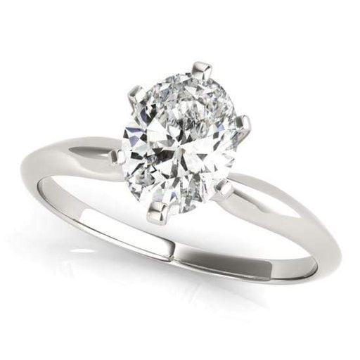 angelucci-jewelry-Oval Shape 14-Karat 6-Prong Set Solitaire Diamond Engagement Ring with Tapered Band
