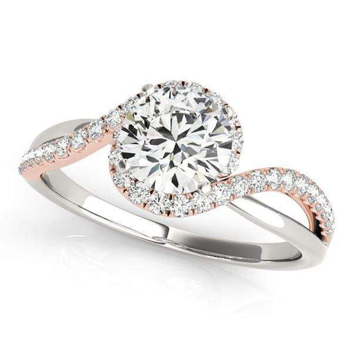 Engagement Rings 14kt / Pink / 3-15 Two-Row Round Brilliant Bypass Diamond Engagement Ring angelucci-jewelry