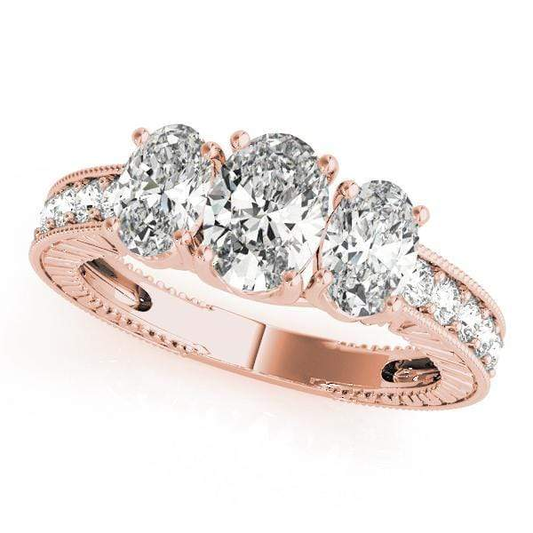 Engagement Rings 14kt / Pink Engagement Rings 3 Stone Oval angelucci-jewelry