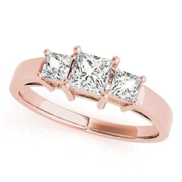 Engagement Rings 14kt / Pink Engagement Rings 3 Stone Princess angelucci-jewelry