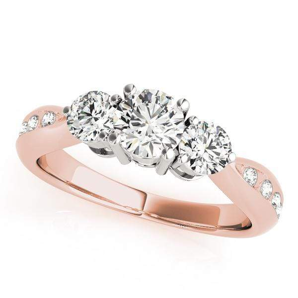 Engagement Rings 14kt / Pink Engagement Rings 3 Stone Round angelucci-jewelry