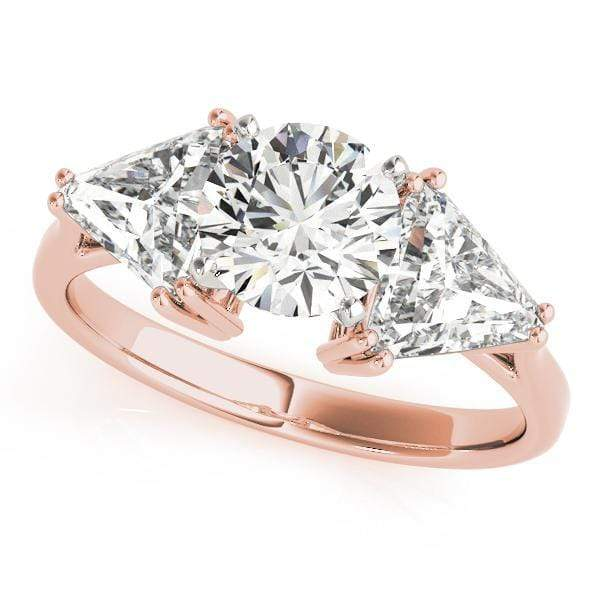 Engagement Rings 14kt / Pink Engagement Rings 3 Stone Trillion angelucci-jewelry