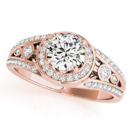 Round Shape Halo Diamond Engagement Ring With Double Shank and Accent Diamonds-Angelucci-Jewelry