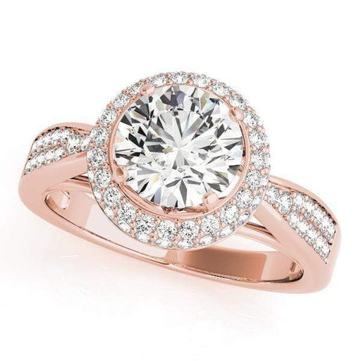Round Shape Double Halo Diamond Engagement Ring 2-Row Tapered Band-Angelucci-Jewelry