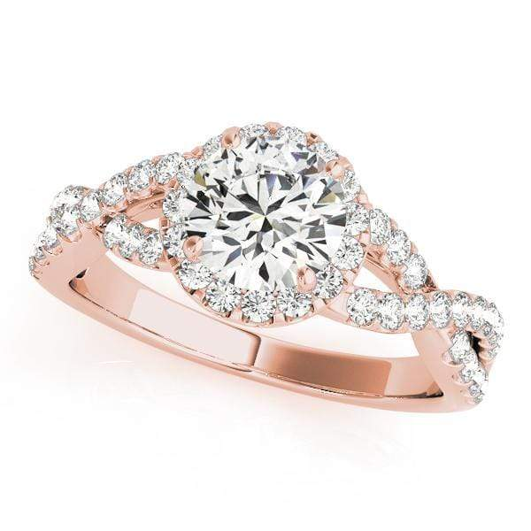 Angelucci-jewelry Round Brilliant Shape 14-Karat Twisted Shank Halo Diamond Engagement Ring