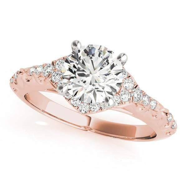 Engagement Rings 14kt / Pink Engagement Rings Halo Round angelucci-jewelry