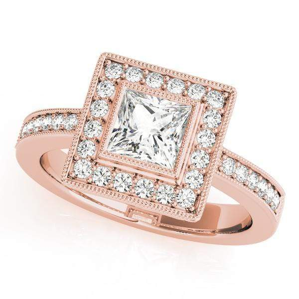 Engagement Rings 14kt / Pink Engagement Rings Halo Square & Cushion angelucci-jewelry