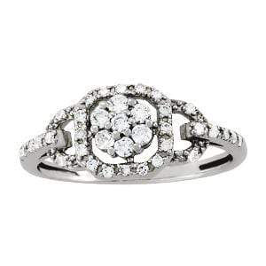 angelucci-jewelry-Round Brilliant Shape 14-Karat Cluster-Set Diamond Engagement Ring