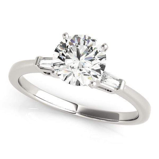 angelucci-jewelry-3 Stone Round Brilliant Shape 2-Tone Diamond Engagement Ring with Tapered Baguette Accent Diamonds