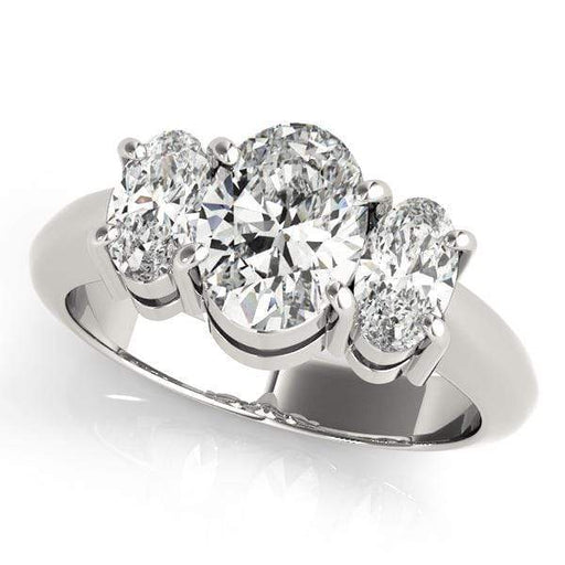 angelucci-jewelry-3 Stone Oval Shape 14-Karat Prong-Setting Diamond Engagement Ring