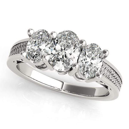 angelucci-jewelry-3 Stone Oval Shape Diamond Engagement Ring with Engraved Band