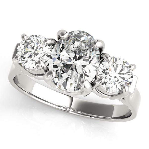 angelucci-jewelry-3 Stone Oval Shape Prong-Set Diamond Engagement Ring with Round Diamond Accents