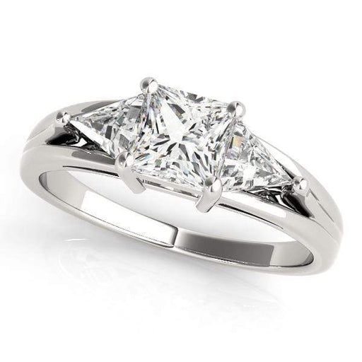 angelucci-jewelry-3 Stone Princess Shape Diamond Engagement Ring with Trillion Shape Accent Diamonds