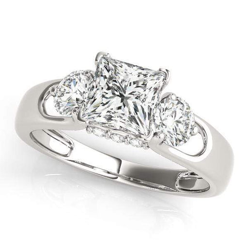 angelucci-jewelry-3 Stone Princess Shape Diamond Engagement Ring with Round Diamond Accents