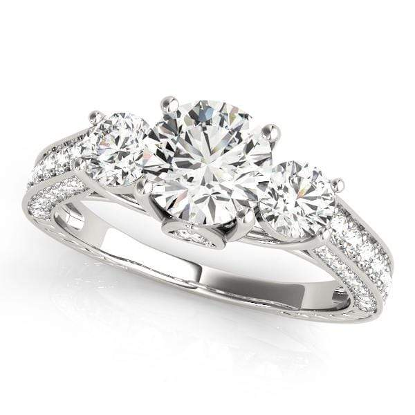 angelucci-jewelry-3 Stone Round Brilliant Shape Diamond Engagement Ring with 3-Row Accent Diamonds