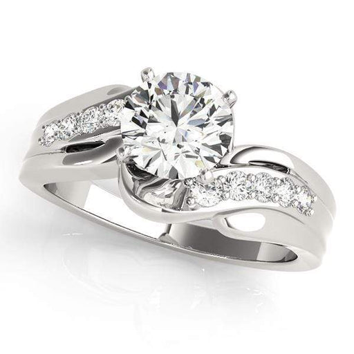 angelucci-jewelry-Round Brilliant Shape 2-Tone Bypass Diamond Engagement Ring with Shared-Prong Set Accent Diamonds