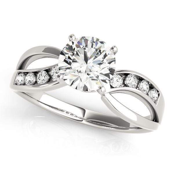 angelucci-jewelry-Round Brilliant Shape 2-Tone Prong-Set Split-Shank Bypass Diamond Engagement Ring with Channel-Set Diamond Accents