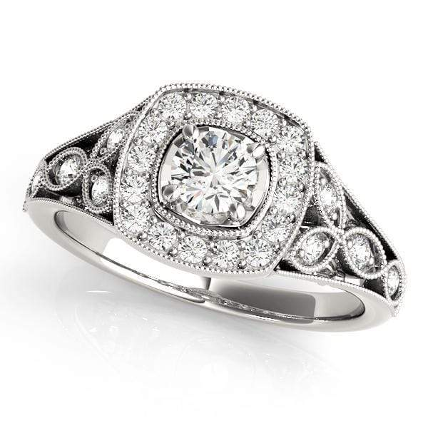 Round Shape Halo Diamond Engagement Ring With Cushion Border, Side Diamonds & Milgraine-Angelucci-Jewelry
