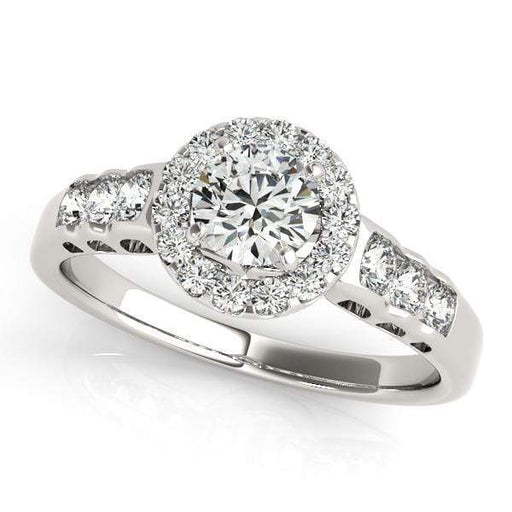 Round Shape Halo Diamond Engagement Ring With Large Side Diamonds Engraving-Angelucci-Jewelry