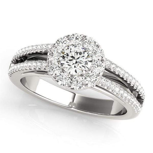 Double Shank Round Shape Large Halo Diamond Engagement Ring with Accent Diamonds-Angelucci-Jewelry