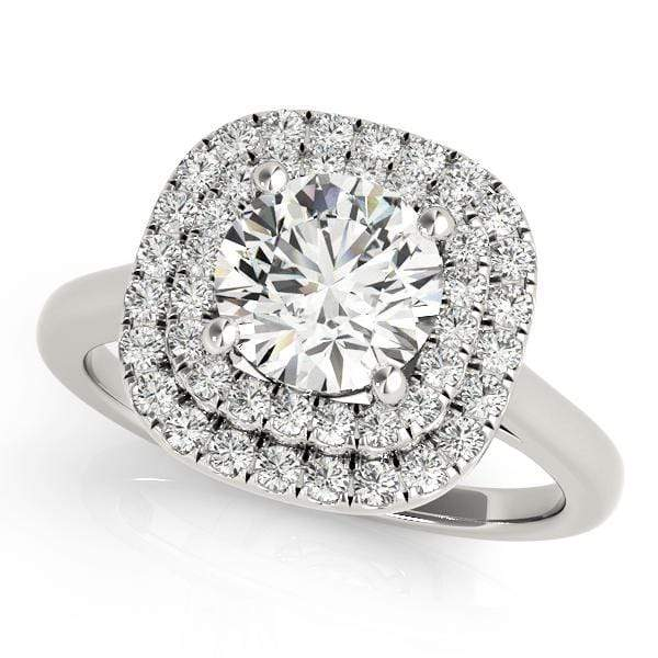 Round Brilliant Shape Double Halo Diamond Engagement Ring with Cushion Border & Thick Plain Band-Angelucci-Jewelry