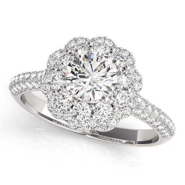 Round Brilliant Shape Center & Double Flower Large Halo Diamond Engagement Ring with 3-Row Pave Diamonds-Angelucci-Jewelry