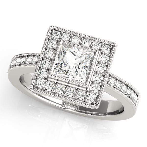 Engagement Rings 14kt / White Engagement Rings Halo Square & Cushion angelucci-jewelry