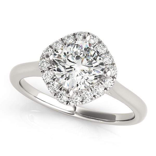 Cushion Shape Halo Diamond Engagement Ring with Star Border & Flat Thin Band-Angelucci-Jewelry