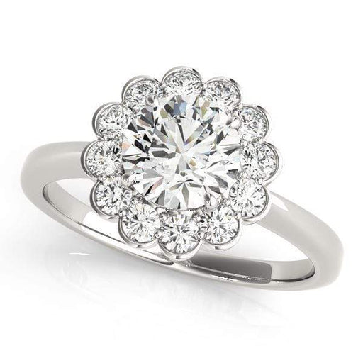 Round Brilliant Shape Center & Floral Large Halo Diamond Engagement Ring with Flat Plain Band-Angelucci-Jewelry